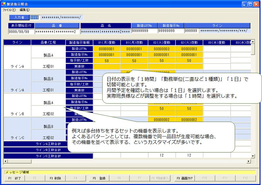製造指示入力(製造単位時間カスタマイズ)